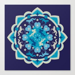 Blue unicorn mandala Canvas Print