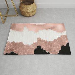 Girly Modern Rose Gold Pink Glitter Brushstroke Art Rug