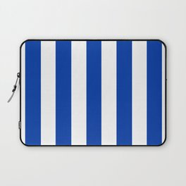 Royal azure - solid color - white vertical lines pattern Laptop Sleeve
