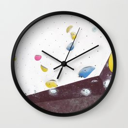 Geometric abstract free climbing bouldering holds pink yellow Wall Clock