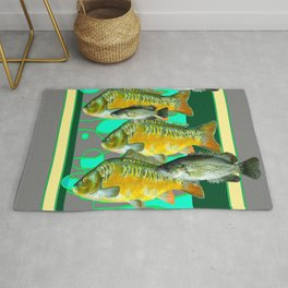 MODERN ART GREEN-GREY  SCHOOL OF  FISH Rug