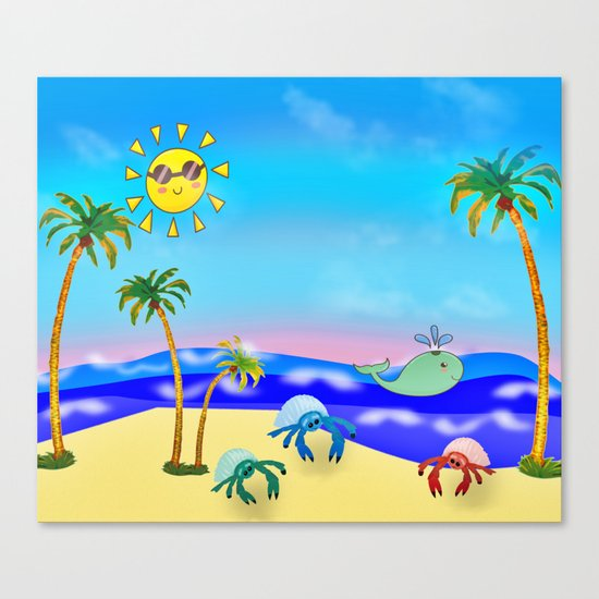 Beach Party for the Baby Crabs Canvas Print