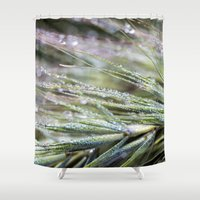 weed Shower Curtains featuring dewy weed by Bonnie Jakobsen-Martin