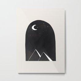 Minimalist Abstract Ink Collage Ancient Egypt Pyramids Night Desert Landscape by Ejaaz Haniff Metal Print