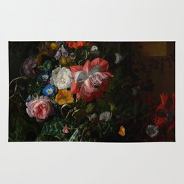 """Rachel Ruysch """"Roses, Convolvulus, Poppies, and Other Flowers in an Urn on a Stone Ledge"""" Rug"""