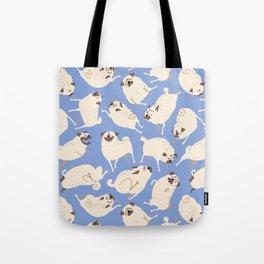 Peppy Pugs - blue Tote Bag