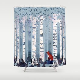 the birches in blue shower curtain