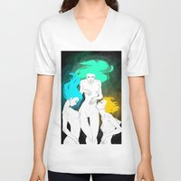 bible verse V-neck T-shirts featuring Neon Bible by Tiweless Wachine