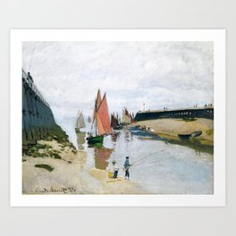 Entrance to the Port of Trouville by Claude Monet , 1870 Art Print
