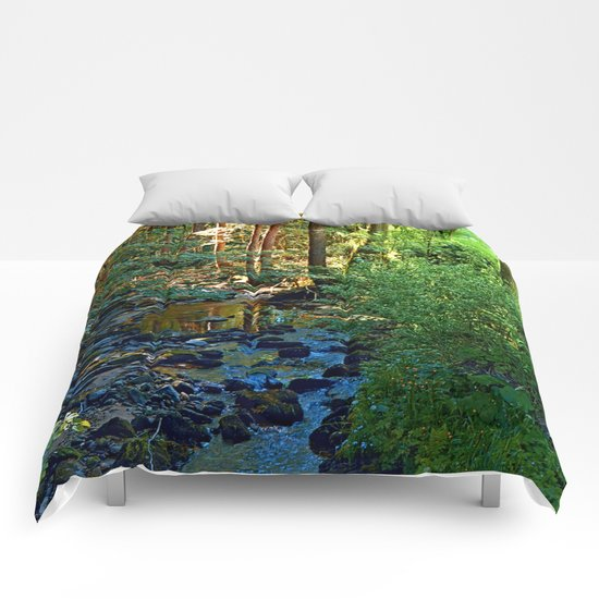 Forest, a river, a valley and summertime Comforters