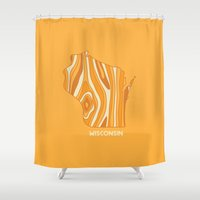 wisconsin Shower Curtains featuring Wisconsin by Out There Studio