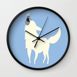 Little White Dog with Bird, Blue Wall Clock