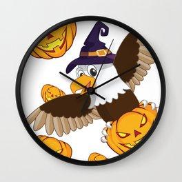American Bald Eagle With Jack o Lantern Halloween T-Shirt Wall Clock