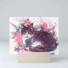 Cat painting, lavender colors, beautiful pet portrait Mini Art Print