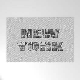 New York (photo filled type on white) Welcome Mat