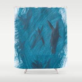 Kaws cross, Abstract, Blue Duck Shower Curtain
