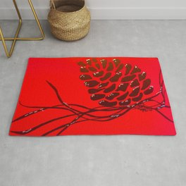 Pine Cone on Red Rug
