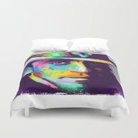 stevie nicks Duvet Covers featuring Stevie Ray Vaughan  by Jon Finlayson