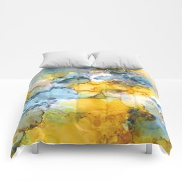 Alcohol Ink 'Fools Gold' Comforters