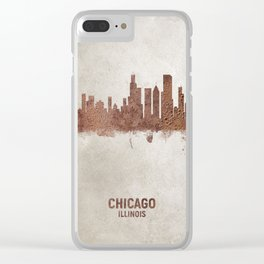 Chicago Illinois Rust Skyline Clear iPhone Case