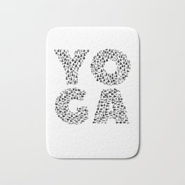 Yoga Shirt Spells Yoga Gift in Yogi Positions Bath Mat