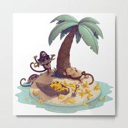 Monkey Desert Island Metal Print