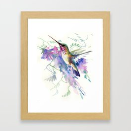 Hummingbird and Soft Purple Flowers Framed Art Print