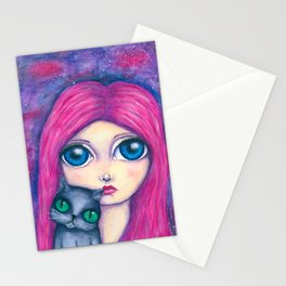 Big eyes girl with pink hair and her cat compangnon Stationery Cards