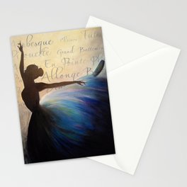 Blue Ballerina Silhouette Stationery Cards