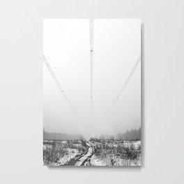 Power Lines & Fog Metal Print