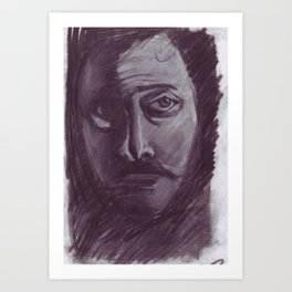 Shadowed man in charcoal Art Print