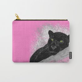 Black panther on a branch - Pink Carry-All Pouch