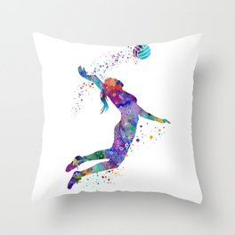Volleyball Girl Watercolor Art Print Sports Art Painting Home Decor Birthday Gift Throw Pillow