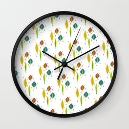 Retro Leaves Wall Clock