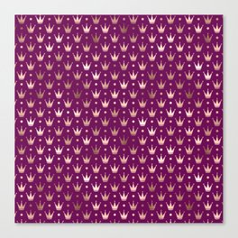 Purple & Rose Gold Crown Pattern Canvas Print