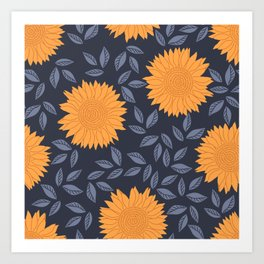 Sunflowers Pattern Art Print