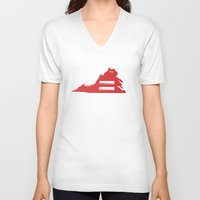 virginia V-neck T-shirts featuring Virginia Love by Tank Top Sunday