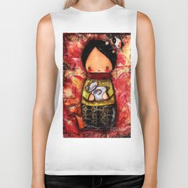 Child in the Company of Cats Biker Tank