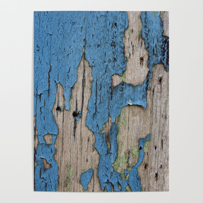 Blue Weathered Wood Poster
