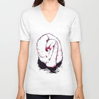 swan V-neck T-shirts featuring Swan by Oxana Art