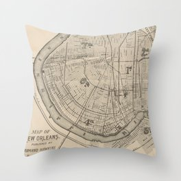 Vintage Map of New Orleans Louisiana (1885) Throw Pillow