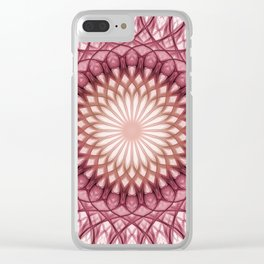 Delicate red and brown mandala Clear iPhone Case