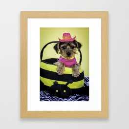Yorkshire Terrier Puppy Wearing a Hot Pink Shirt and Cowboy Hat Poses in a Bumble Bee Basket Framed Art Print