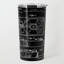 Turntable Patent - White on Black Travel Mug