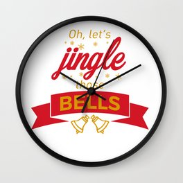 Jingle Bells Christmas Carol Holiday Celebration Wall Clock
