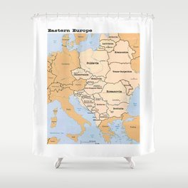 Eastern Europe Map Shower Curtain