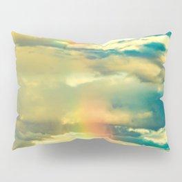Rainbow Blue Sky Clouds Pillow Sham