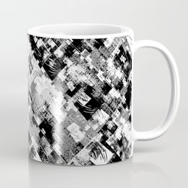 Black and White Patchwork Grunge Coffee Mug