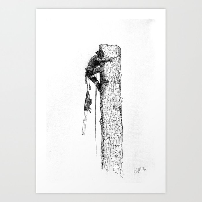 Tree surgeon Arborist using large stihl chainsaw Art Print by lavender