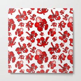 Striking red poinciana floral pattern Metal Print